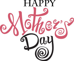 Happy Mother's Day! Bright Pink color. Black color. White background. Free Download 2021 greeting card