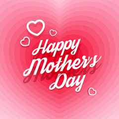 Happy Mother's Day! White hearts. White inscription. Alizarin background. Pink background. Free Download 2021 greeting card