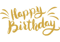 Happy Birthday ClipArt. Gold paint. Nice inscription on a white background. Gold inscription. Gold brush. Free Download 2021 greeting card
