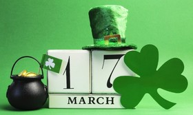 17 march! St. Patrick's day! A Green hat. A Shamrock. A pot of gold. Free Download 2021 greeting card
