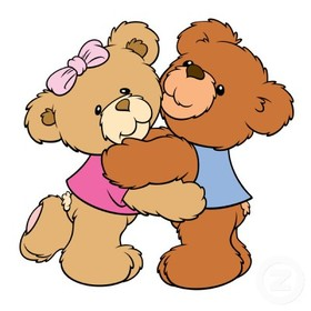 A big bear hug! National hug day. Two bears. Toy bears. Pink and blue. Girl and boy. Fairy-tale bears for children. Free Download 2021 greeting card