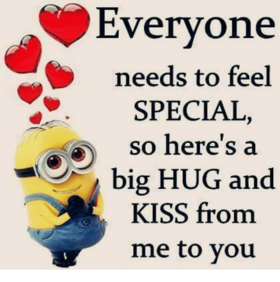 A BIG HUG AND KISS FROM ME TO YOU! National hug day. Meme. Yellow Minion. Red hearts. Wishes. Free Download 2021 greeting card