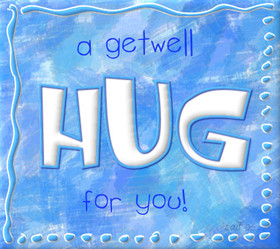 A get well hug for You! National hug day 2018 Greeting card. Blue background. Texture background. Free Download 2021 greeting card
