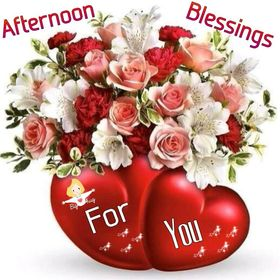 Afternoon Blessings fo You! Big Hug! Red hearts. Roses. Free Download 2021 greeting card