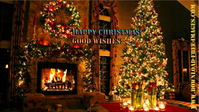 Нарру christmas! Good wishes! A fire in the fireplace. A big Christmas tree, and a turkey dinner... Free Download 2021 greeting card
