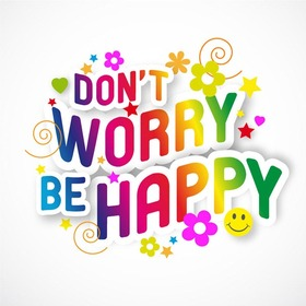 Don't worry! Be happy! Color font design. Flowers. Stars. Hearts. Smile. Clipart. Free Download 2021 greeting card