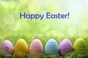 Happy Easter to everybody! New ecard for free. Happy Easter. Easter Eggs are on the field. Easter 2018. Free Download 2019 greeting card