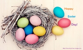 E-card for Easter Day 2018. New ecard for free. Easter Day. Easter Sunday. Easter Monday. Easter Eggs are in the nest. Happy Easter. Free Download 2019 greeting card