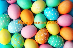 Easter eggs mean Easter comes to us! New ecard. Easter Day. Easter Sunday. Easter Monday. A lot of Easter Eggs. Free Download 2019 greeting card