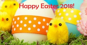 Easter Day 2018 with chicks and bright eggs! Happy Easter. Bright Easter Eggs. Easter 2018. Chicks. New ecard for free. Free Download 2019 greeting card