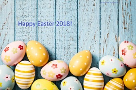 Happy Easter Day 2018. New ecard for free. Easter Day 2018. Easter Eggs are on the wooden floor. Free Download 2019 greeting card