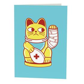 Don't be ill, my son! I really love you! Get well soon, honey. Drool card for son. This kitty with broken leg for you. You're my little kitten, sonny. Free Download 2021 greeting card