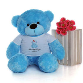 Get Well Soon! A little blue bear. Toy. Pink Flowers. JPG. Free Download 2021 greeting card