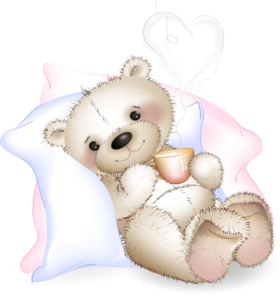 Get Well Soon! A little bear with a cup of hot milk. PNG. Heart. Free Download 2021 greeting card