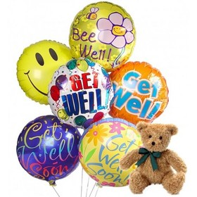 Get Well Soon! Balloons. Toy bear. JPG. Free Download 2021 greeting card