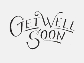 Get Well Soon. Black & White clipArt. Free Download 2021 greeting card