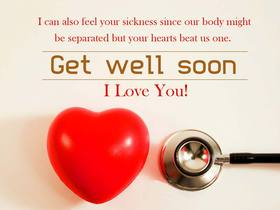 Get Well Soon. I Love You. National hug day. Red heart. By the way, nice stethoscope - it's very shiny... Free Download 2021 greeting card