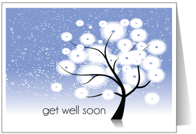 Get Well Soon. National hug day 2018. Greeting card. Winter. Snow tree. Blue sky. Blue background. Free Download 2021 greeting card