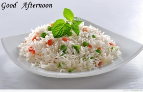 Good Afternoon! Bon appetit! A bowl of rice. Free Download 2021 greeting card