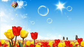 Good Afternoon! Nature. IPG. Blue sky. Red tulips. Yellow tulips. Soap bubbles. Sun. Big balloon. Free Download 2021 greeting card