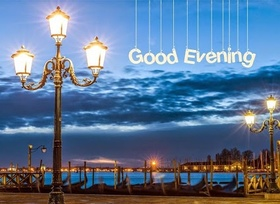 Good Evening! Paris. Evening. Street lamp. Free Download 2021 greeting card