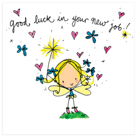 Good Luck. Little girl. Cute fairy. Child drawing. Good Luck... Good Luck in your new job!!! Good wishes. Ecard for children. Free Download 2021 greeting card
