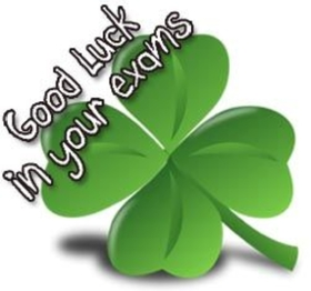 Good Luck in your exams. Shamrock ecard. Good Luck... Good Luck in your exams... green colour... Free Download 2021 greeting card