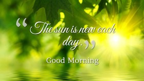 Beautiful Sunrise and gentle green leaves. Ecard. Good morning. Green e-card. Sunrise. Green leaves. Free Download 2021 greeting card