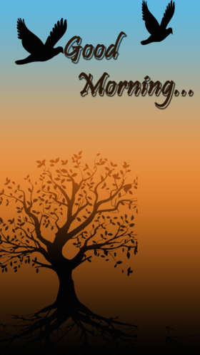 Good Morning in shades. New ecard for free. Good Morning. Birds. Tree. Shades of the sunrise. Free Download 2021 greeting card