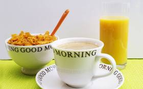 Good Morning Breakfast. New ecard for free. Good morning. Breakfast. Cup of Coffee. A glass of juice. Cereal. Free Download 2021 greeting card