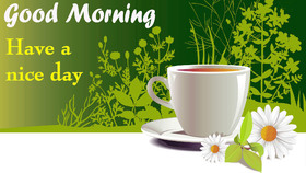 Good Morning. New ecard for free. Good morning. Breakfast. A white cup of Coffee. White Flowers. Green background. Free Download 2021 greeting card