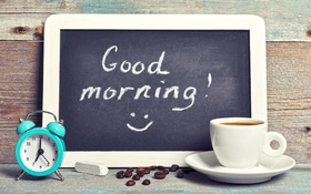 Good Morning in a school style. New ecard. Good morning. A cup of coffee. A blue clock. White Chalk and a blackboard. Free Download 2021 greeting card