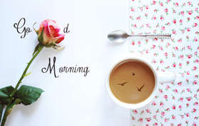 Good Morning for the most beautiful girl. Ecard. Good morning. A white cup of Coffee. Flowers. A pink Rose. Birds. Free Download 2021 greeting card