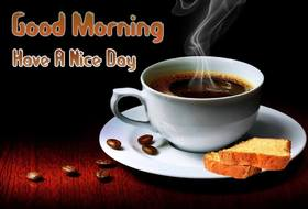 Good Morning card for a man. New ecard for free. Good Morning. Cup of coffee. Toasts Coffee grains. Have a nice day. For man. Free Download 2021 greeting card