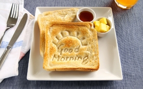 Good Morning and tasty toasts for breakfast. Ecard Good morning. Food. Breakfast. Toasts. Free Download 2021 greeting card