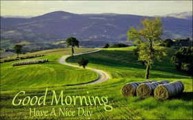 A Nice Day starts with a good morning. New ecard. Good Morning. Have a nice day. Green grass, green trees. Free Download 2021 greeting card