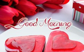 Good Morning with love. New ecard for free. Good morning. Red Hearts. Red Roses. Free Download 2021 greeting card