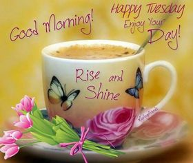 Good Morning! Happy Tuesday! Enjoy Your day! Rise & Shine! A cup of coffee with milk. Pink Flowers. A sunny day. Colorful butterflies on the cup. Free Download 2021 greeting card