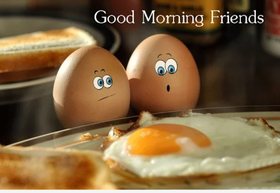 Good Morning With Omelet. PNG. Egg. Free Download 2021 greeting card