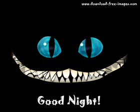 Good Night to You from the cheshire cat. JPG. Black background. Big, blue eyes. Free Download 2019 greeting card