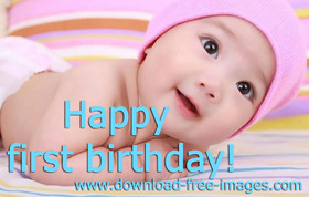 Happy 1st birthday! A Girl. A little kid. A little baby. Pink color. Great smile, hazel eyes, and bloody adorable. Free Download 2021 greeting card