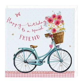 Happy Birthday to a special friend. New ecard. Happy Birthday. Pink and white Flowers. Bike. Free Download 2021 greeting card
