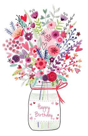 Happy Birthday bouquet. New ecard for free. Happy Birthday. Different Flowers in a vase. Free Download 2021 greeting card
