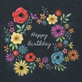 Happy Birthday nice e-card. New ecard for free. Happy Birthday. Bright Flowers. Black background. Free Download 2021 greeting card