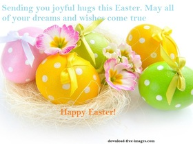 Happy Easter e-card with Easter eggs and flowers. Happy Easter e-card with Easter eggs and Flowers. Easter 2018. Easter. Wishes. New ecard for free. Free Download 2019 greeting card