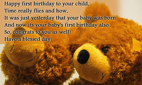 Happy first birthday to your child! Have a blessed day! Toy bears. Free Download 2021 greeting card