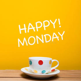 Happy Monday! Yellow background. A polka-dot cup. White. Colorful. Free Download 2021 greeting card