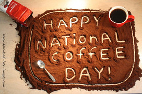 Happy National Coffee Day! Greeting Card. A red cup of very strong coffee with a coffee pack. Black coffee. Best Ecard. Free Download 2019 greeting card