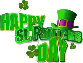 Happy St. Patrick's Day! Green card. Green hat. Shamrock. Free Download 2021 greeting card