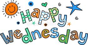 Happy Wednesday! Cartoon Text Clipart. Free Download 2021 greeting card